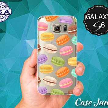 Macaron Cookie Pattern French Macaroon Pastry Cute Case for Clear Rubber Samsung Galaxy S6 and Samsung Galaxy S6 Edge Clear Cover
