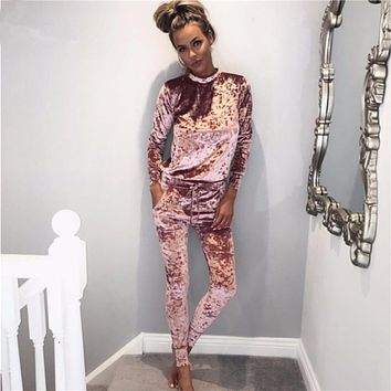 2018 Winter Fashion New Brand Two pieces Velvet Women Jumpsuits Solid Long Sleeve Sexy Bodysuit Casual Female Romper For Party