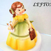 Lefton Girl  Figurine,50's Ceramic School Girl, Yellow Dress - #KW4735 - original foil tag