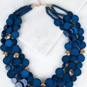 Multi Layered Beaded Necklace Navy