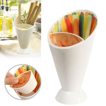 New Hot White Plastic French Fry Cup with Saucer Set Kitchen Potato Tool Tableware Cone with Dipping Cups Kitchen Supplies RT