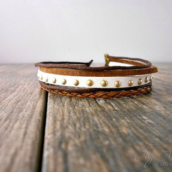 Multi Layered Leather Toggle Bracelet, Leather Cuff Bracelet, Womens Suede Wrap Bracelet, Toggle Clasp, Leather Cord, Studded Bracelet, Boho