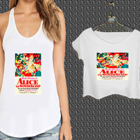 Vintage Disney Poster Alice In Wonderland Inspired For Woman Tank Top , Man Tank Top / Crop Shirt, Sexy Shirt,Cropped Shirt,Crop Tshirt Women,Crop Shirt Women S, M, L, XL, 2XL*NP*