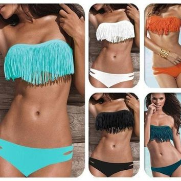 CREYUG3 Hot Sale Swimwear Women Padded Boho Fringe Bandeau Bikini Set New Swimsuit Lady Bathing suit = 1946101252