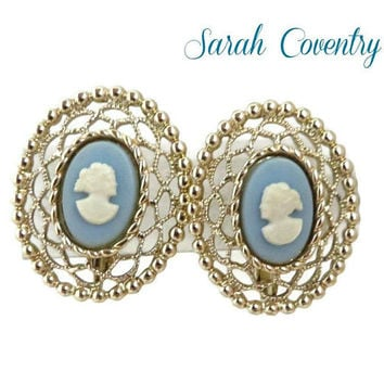 Cameo Blue Gold Earrings - Sarah Coventry Filigree Clip-on Earrings, Gift for Her, Gift Boxed