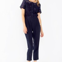 Sheer Floral Embroidered Navy Jumpsuit