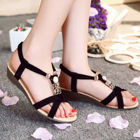 Summer Women Boho Bohemian Metal Olivet Wedges Low Heels Sandals Shoes
