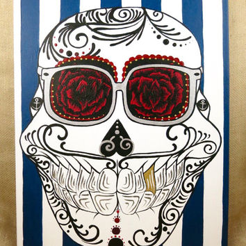 16x20 Nautical Male Sugar Skull Painting