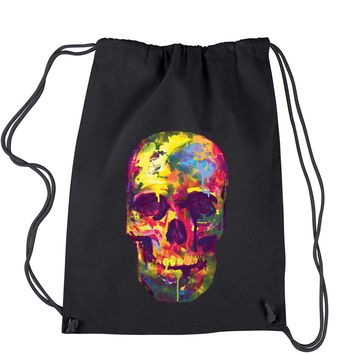 Painted Skull Neon Colors Drawstring Backpack