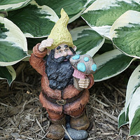 Garden Gnome, Hand Painted Resin Figurine Lawn Ornament, Garden Decor