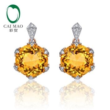 14KT Rose Gold 8mm Round Cut 7.98ct Citrine & 0.11ct  Diamond Earrings
