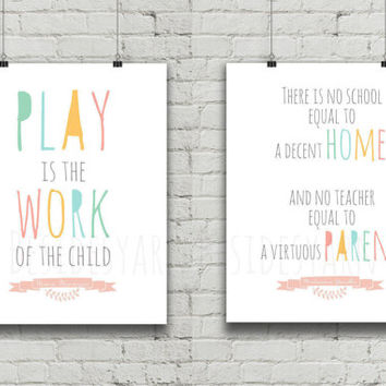 Classroom Poster Decoration, Montessori Materials, Teacher Gift, Gandhi and Maria Montessori Quote, Homeschool Childcare Poster Decor