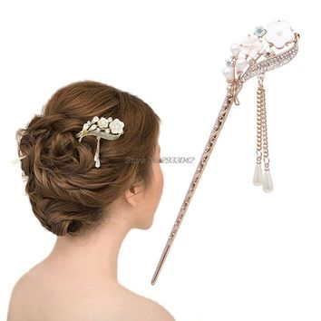 Women Elegant Secluded Orchid Bobby Pin Fashion Hairpin Rhinestone Hair Stick  -W128