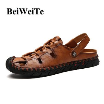 BeiWeiTe Men's Beach Sandals Adjustable Slippers Genuine Leather Safety Closed Toe Walking Shoes Outdoor Fishing Sport Sneakers