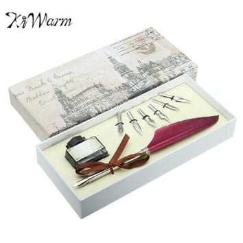 ESBONIS KiWarm Unique Red Vintage Quill Feather Dip Pen Set Writing Ink Gift Box with 5 Nib Quill Pen Fountain Pen Wedding Gift Art Set