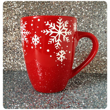 Christmas mug, Red Snowflake coffee mug, red mug, coffee cup, Christmas mug, Christmas gift range, UK seller