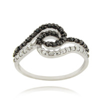 Sterling Silver Black Diamond Accent Swirl Ring