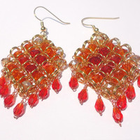 Fiery Red Phoenix Beadmaille Earrings: Scarlet, Orange, and Yellow Crystals in Diamond Chainmail Pattern