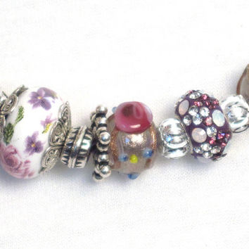 Euro European style beads charms, hand painted porcelain, wedding cake, silver tone and silver plate beads, pearl, heart, fairy drops