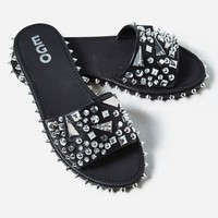 Tonie Silver Studded Detail Slider In Black Faux Leather