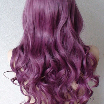 Pastel violet wig. Purple Long curly hair long side bangs Durable Heat resistant wig for Cosplay or Daily use.