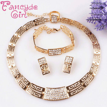 Fancyde Girl Brand Fashion Necklace and Earring bride vintage chain Dubai Jewelry Sets Austrian Crystal For Women Wedding Gift