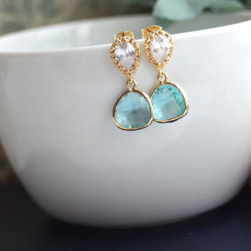A Gold Plated Aquamarine Glass Drop Gold Jewels Earrings. Wedding Jewelry, Bridesmaid Gift, Something Blue, Aqua Blue Wedding. Blue and Gold