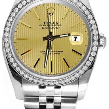 Rolex date just champagne stick dial diamond bezel SS watch