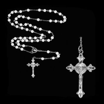 New Fashion Lovely Long Rosary Chain Imitate Pearl Ball Beads Necklace Drop Cross Pendant Necklaces  KQS