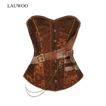 LAUWOO Retro Gothic Black/Brown Plastic Boned Corset Steampunk Corsets and Bustiers Women Leather Corpetes Espartilhos Tops