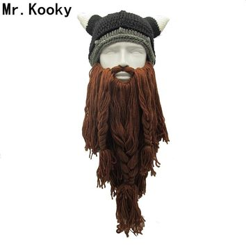 Mr.Kooky Men's Barbarian Vagabond Viking Beard Beanie Horn Hats Handmade Winter Warm Birthday Cool Gifts Funny Gag Halloween Cap