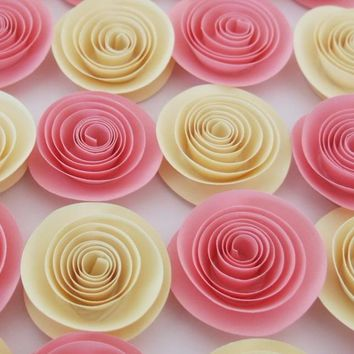 Girl baby shower decor, pink and ivory paper flower package set of 12, Shabby roses, wedding and bridal reception table decorations