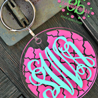 Chainlink ROUND Acrylic Monogram Keychain - Personalized - Stocking Stuffers - Bridesmaid Gifts - Big Little Sorority