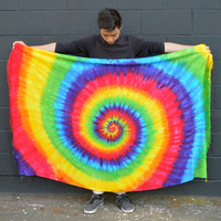 Tye Dye Rainbow Fringe Sarong - Hand Dyed - Wildflower Dyes - Festival fashion