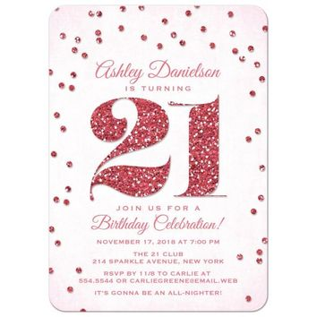 21st Birthday Party Invitations - Pink Glitter Look Confetti