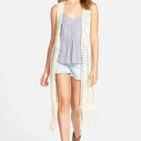 Open Stitch Fringe Vest (Juniors)