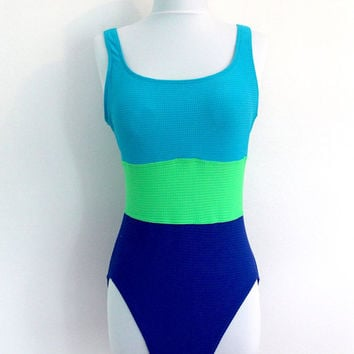 Vintage Tank Swimsuit / Maillot / Bathing Suit / Neon Green Blue Color Block / 1980s 80s New Wave / Size Medium M