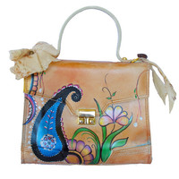 Hand painted Paisley leather purse, handbag