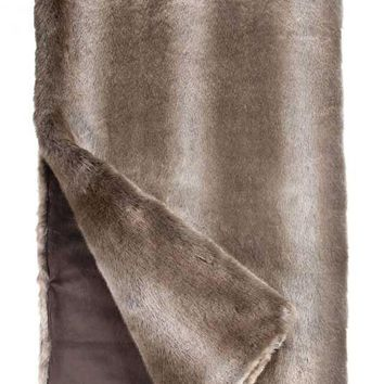 Timber Wolf Couture Faux Fur Throw Blanket by Fabulous Furs