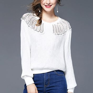 Beaded Top W/ Sheer Shoulder