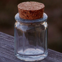Glass OCTAGON HERB JAR with Natural Cork, 1 Oz.