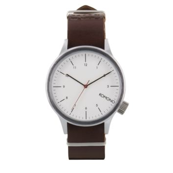 Komono - Magnus Silver Burgundy Watch