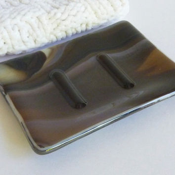 Fused Glass Soap Dish in Streaky Brown and French Vanilla