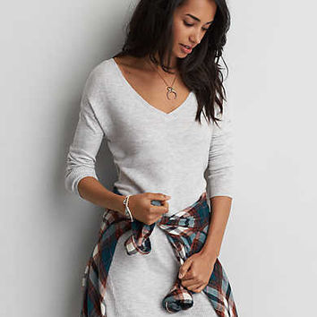 AEO Textured V-Neck Sweater Dress, Light Heather