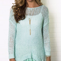 Visions Of Love Mint Tunic Sweater