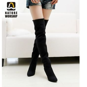 Nubuck Leather sexy Stovepipe long boots Over the Knee high heels women boots