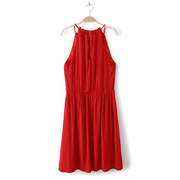 Summer Sleeveless Spaghetti Strap Cotton One Piece Dress [4917856132]