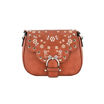 Tan Embroidered Crossbody Purse
