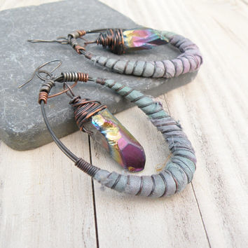 Silk Wrapped Hoop Earrings with Mystic Quartz Points, Lavender and Sage