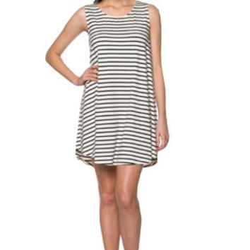 Wishlist Cream and Black Striped Jersey Swing Dress